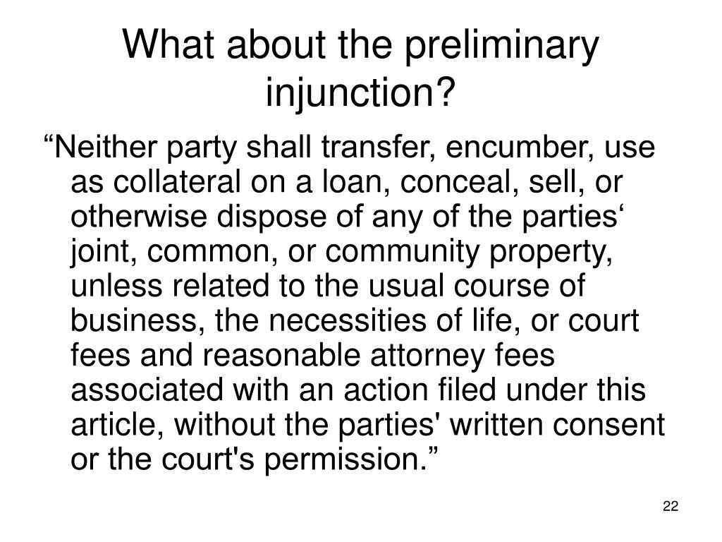 What about the preliminary injunction?