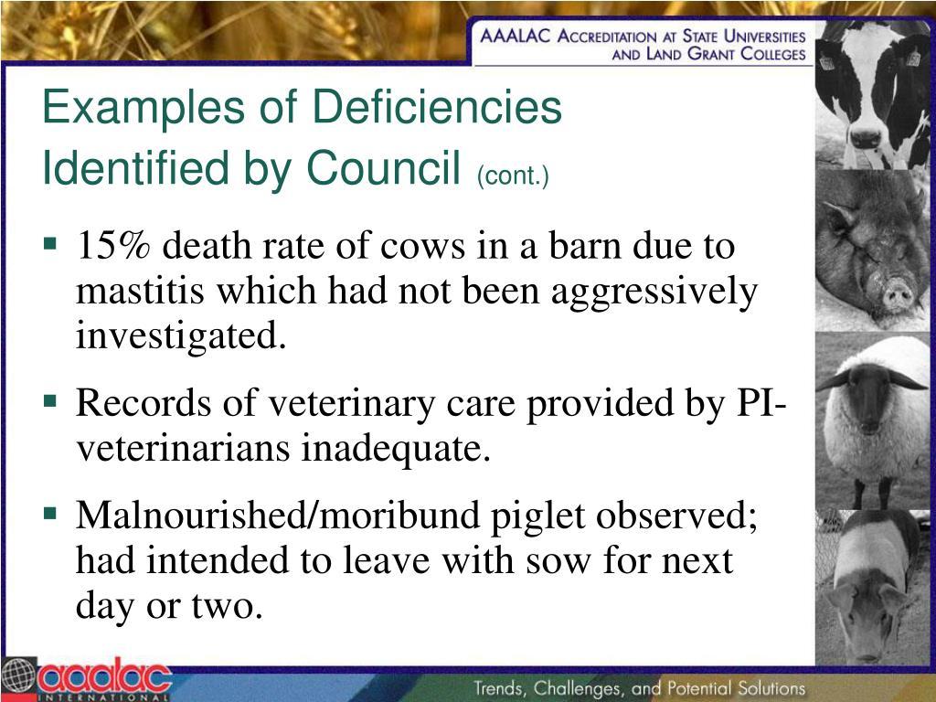 Examples of Deficiencies