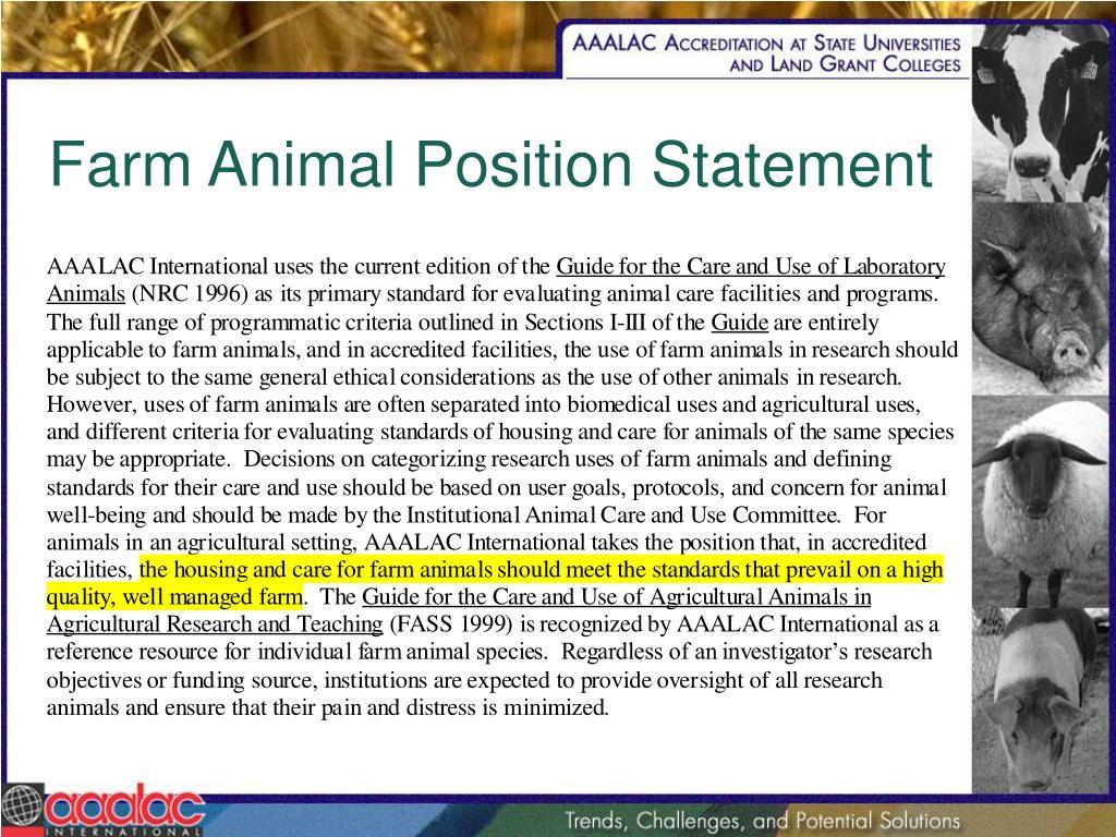 Farm Animal Position Statement