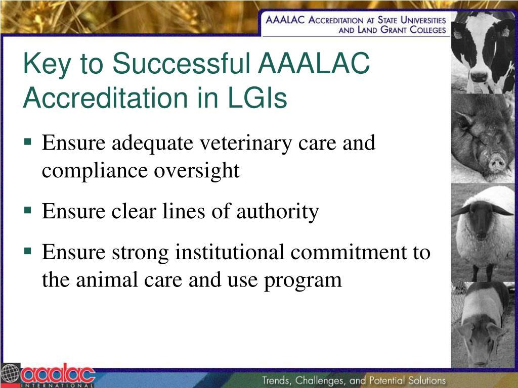 Key to Successful AAALAC Accreditation in LGIs