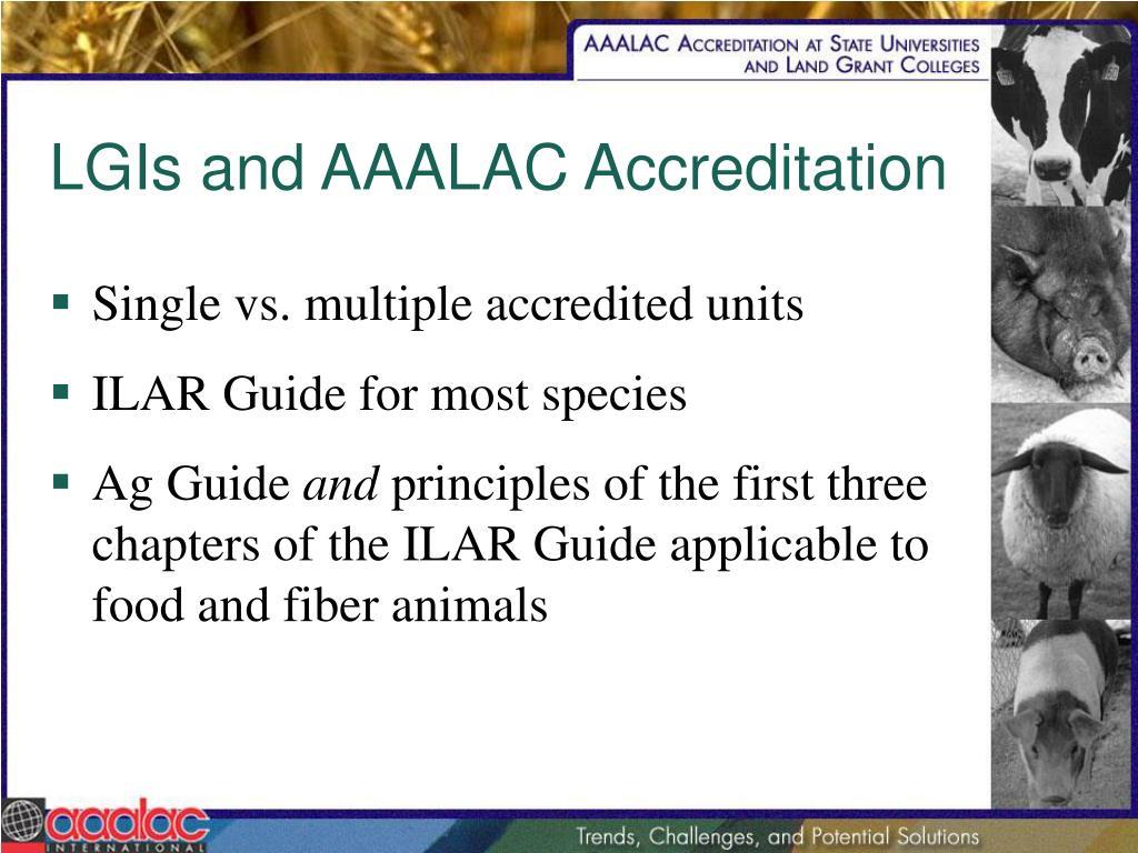 LGIs and AAALAC Accreditation