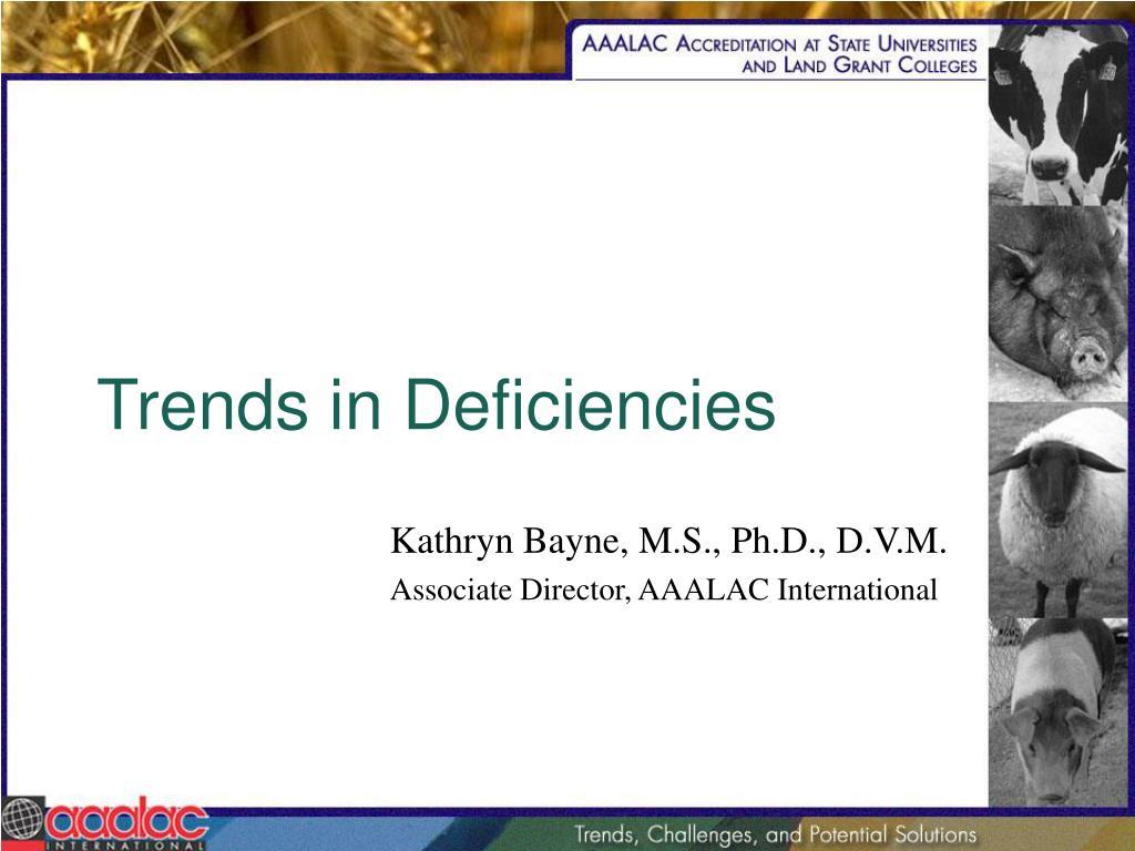 Trends in Deficiencies
