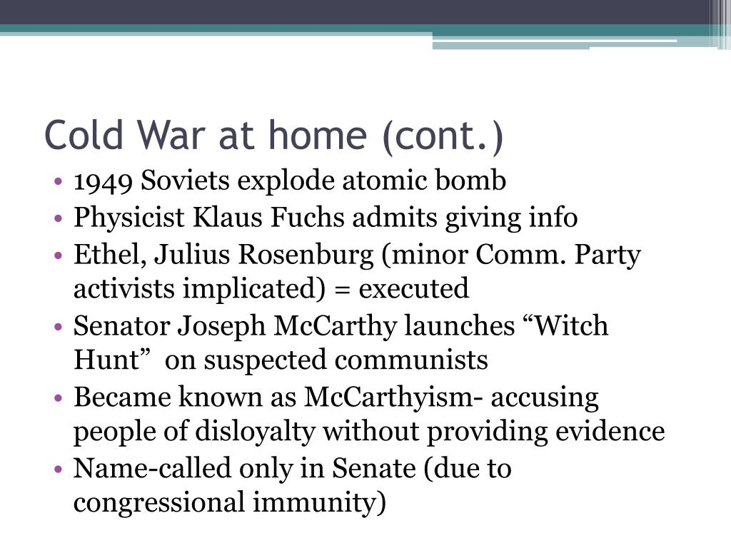 Cold War at home (cont.)