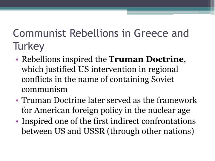 Communist rebellions in greece and turkey