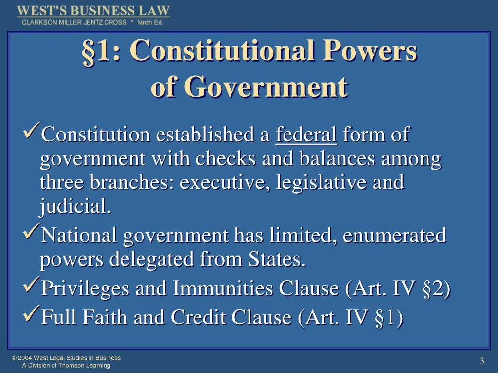 §1: Constitutional Powers