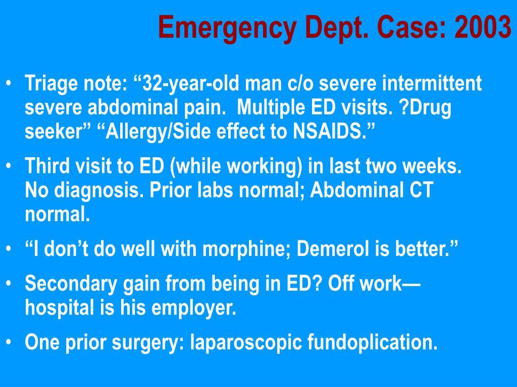 Emergency Dept. Case: 2003