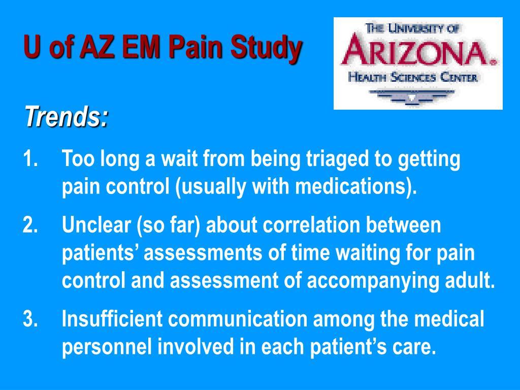 U of AZ EM Pain Study