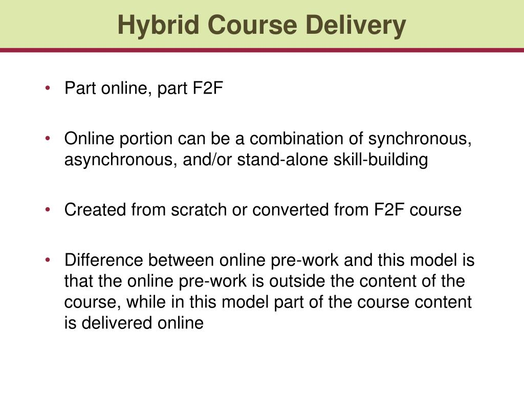 Hybrid Course Delivery