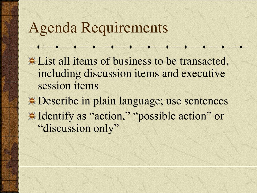 Agenda Requirements
