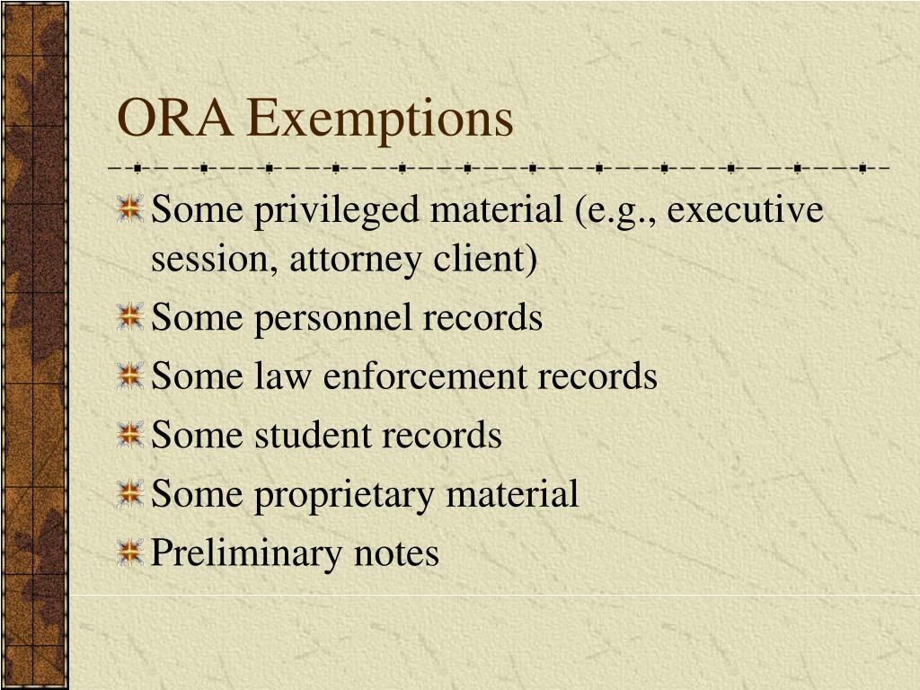 ORA Exemptions