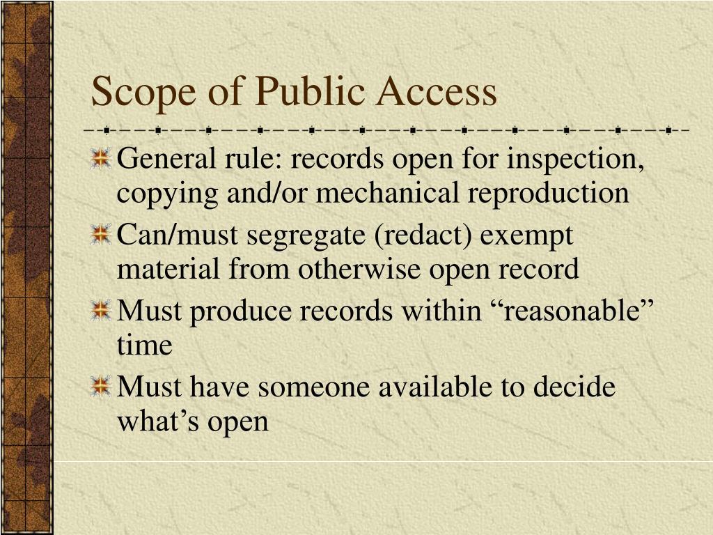 Scope of Public Access