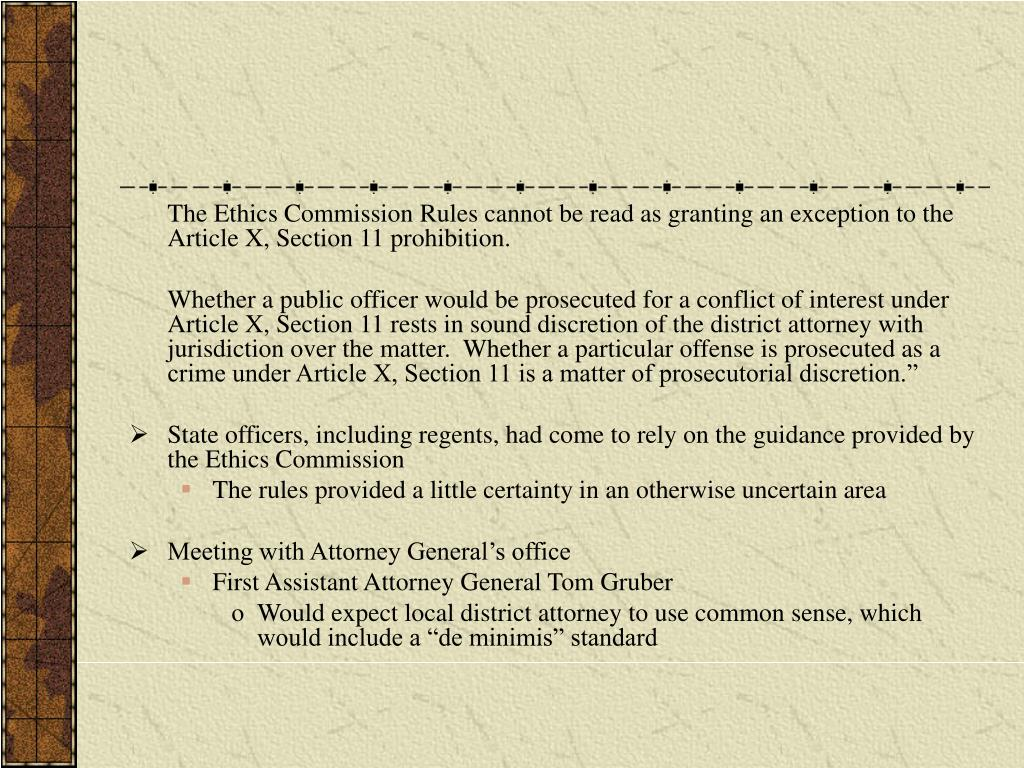 The Ethics Commission Rules cannot be read as granting an exception to the Article X, Section 11 prohibition.