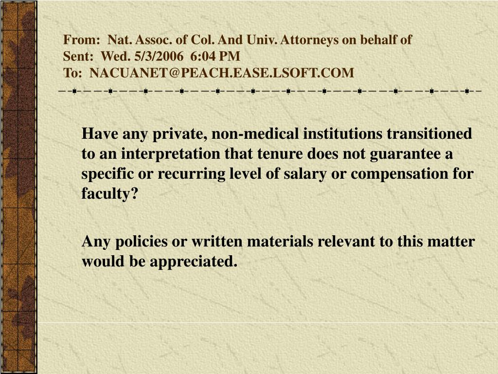 From:  Nat. Assoc. of Col. And Univ. Attorneys on behalf of