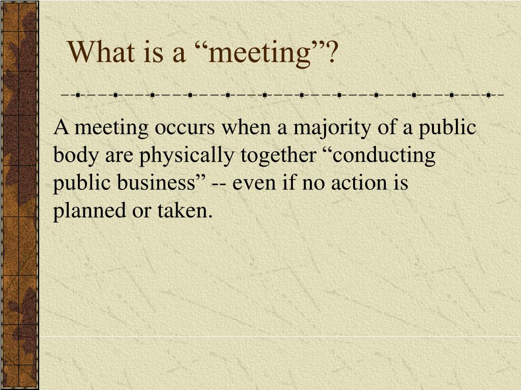 """What is a """"meeting""""?"""