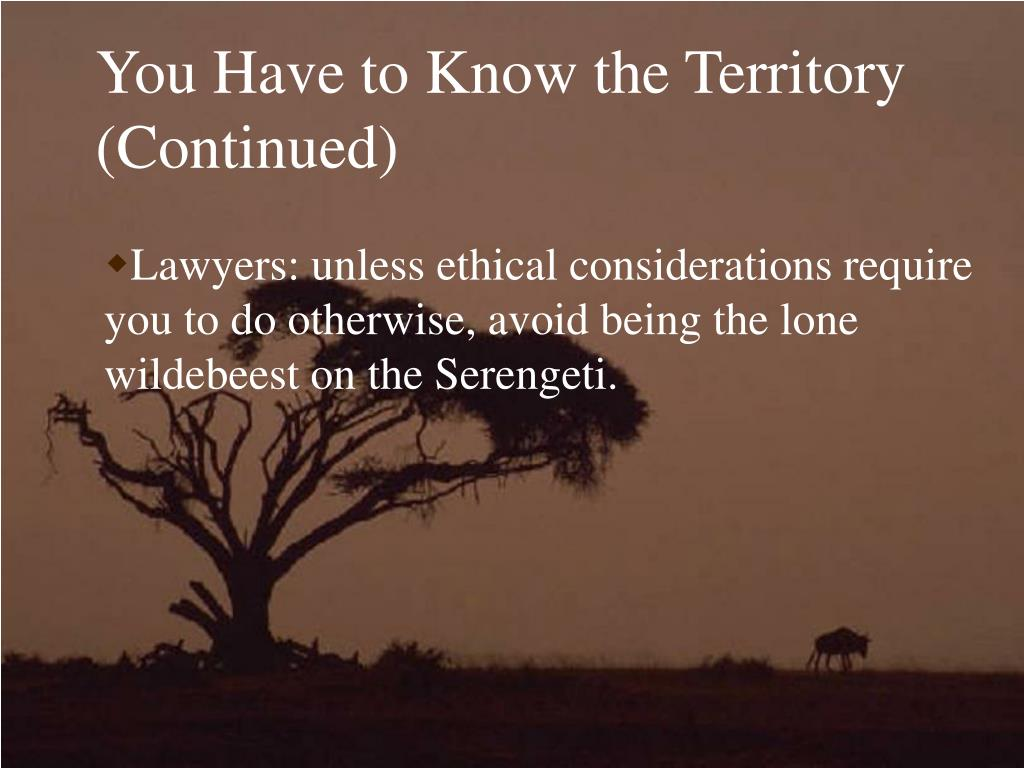 You Have to Know the Territory (Continued)