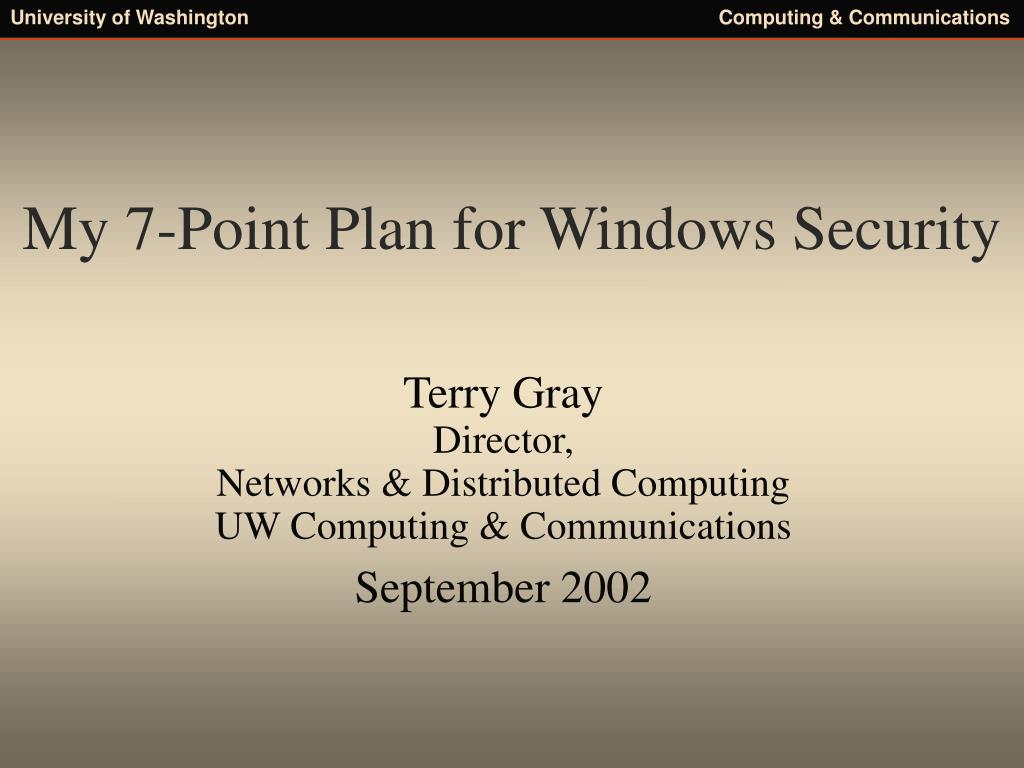 my 7 point plan for windows security l.