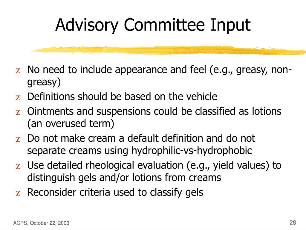 Advisory Committee Input