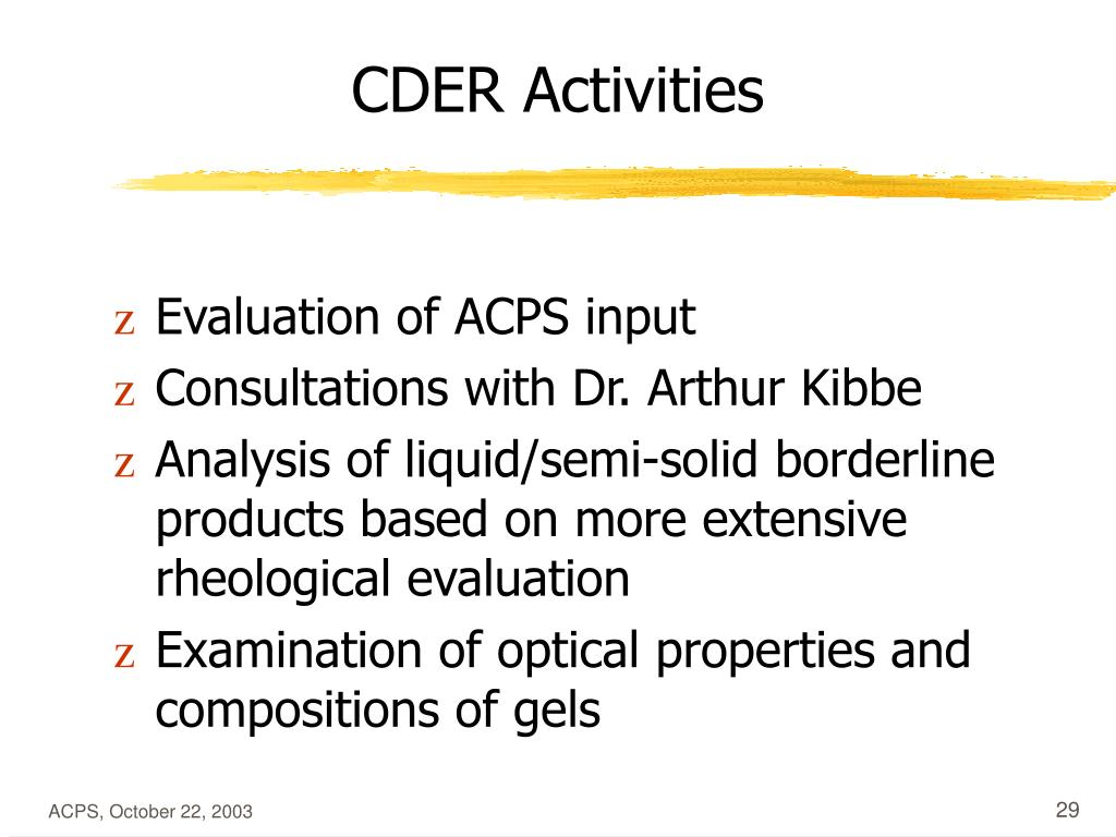CDER Activities
