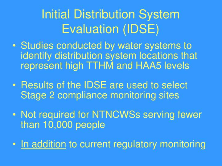 Initial Distribution System Evaluation (IDSE)