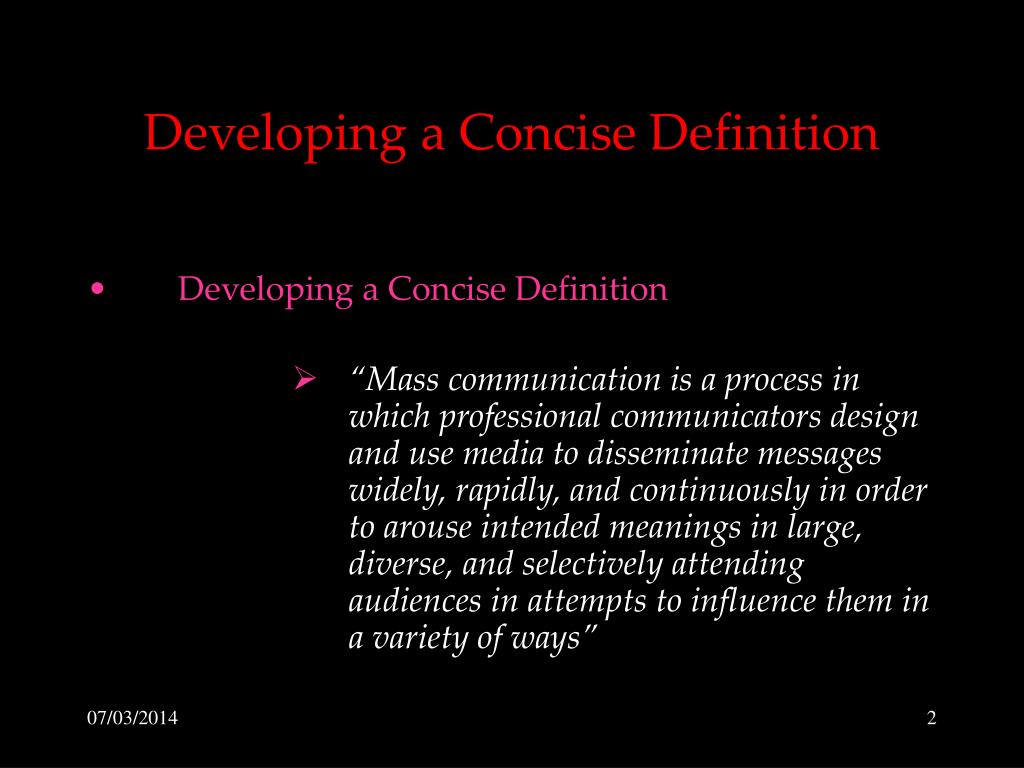 Developing a Concise Definition