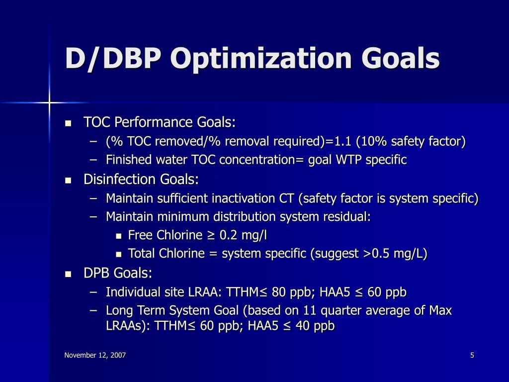 D/DBP Optimization Goals
