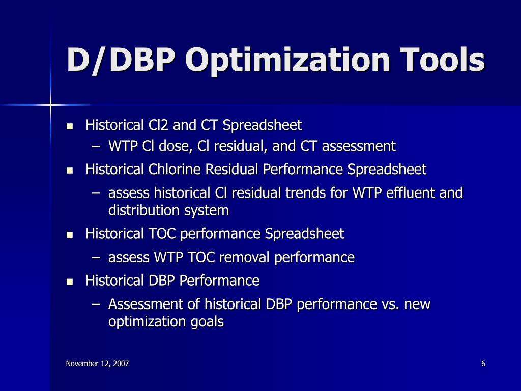 D/DBP Optimization Tools