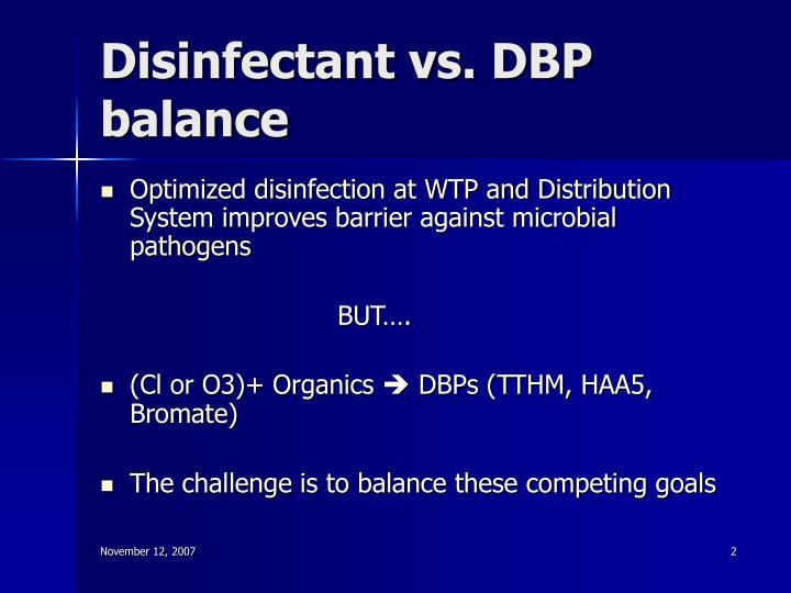 Disinfectant vs dbp balance