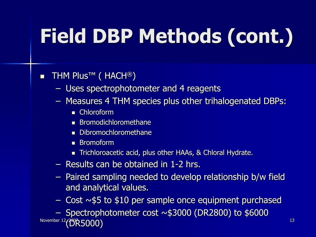 Field DBP Methods (cont.)
