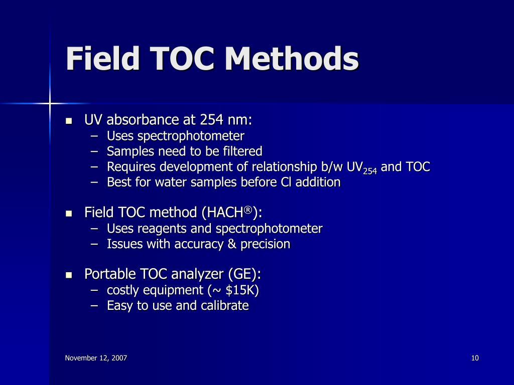 Field TOC Methods