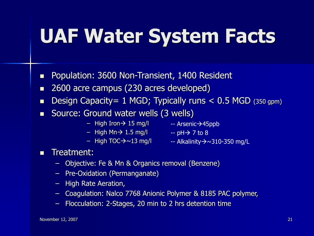 UAF Water System Facts