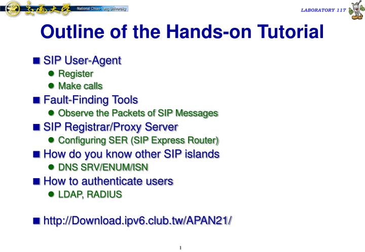 outline of the hands on tutorial n.