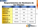 requerimientos de hardware de los clientes