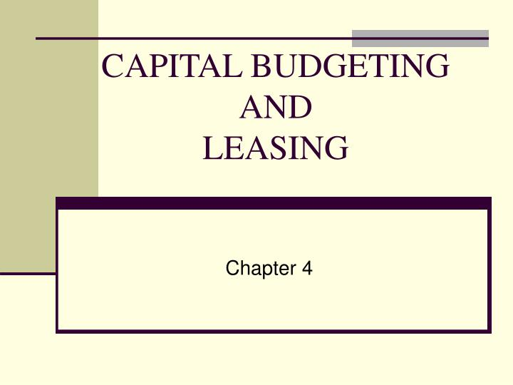 capital budgeting and leasing n.