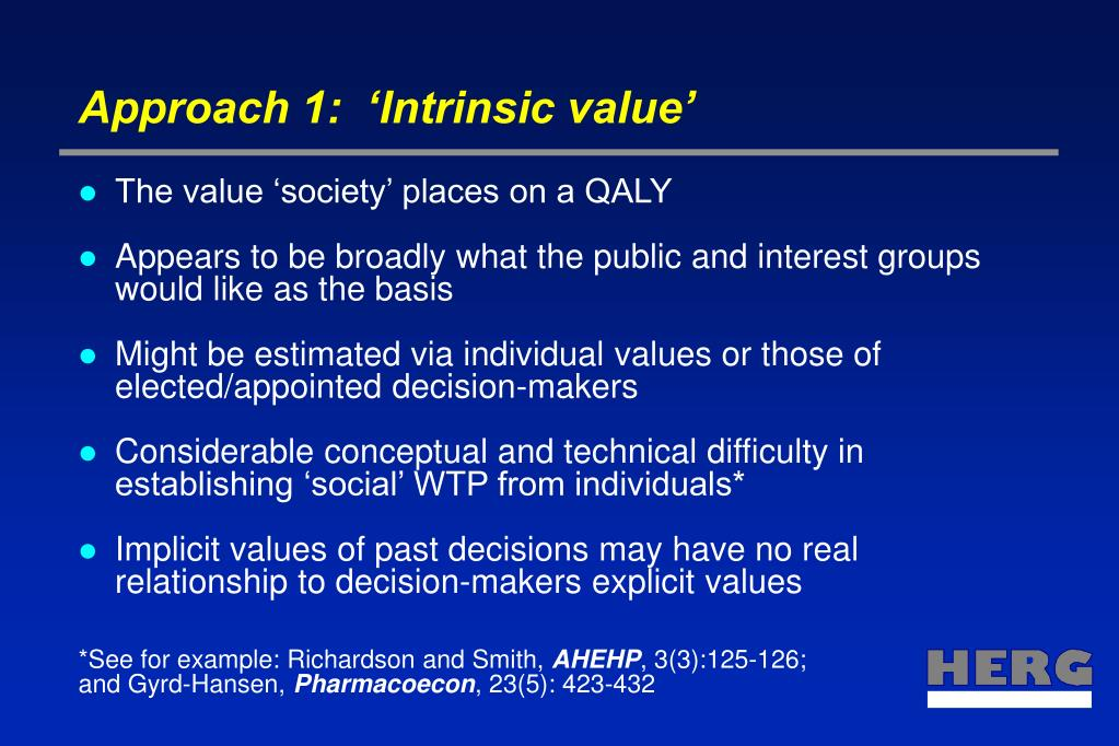 Approach 1:  'Intrinsic value'