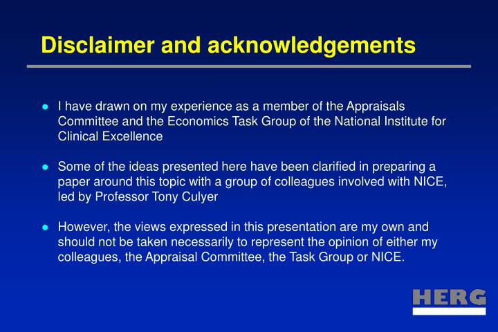Disclaimer and acknowledgements