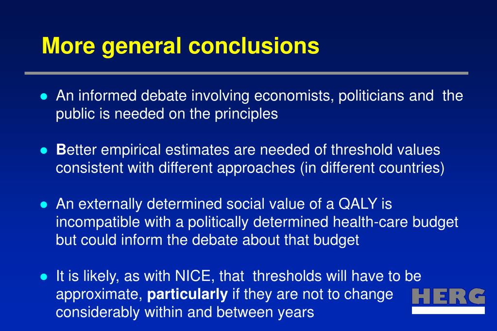 More general conclusions