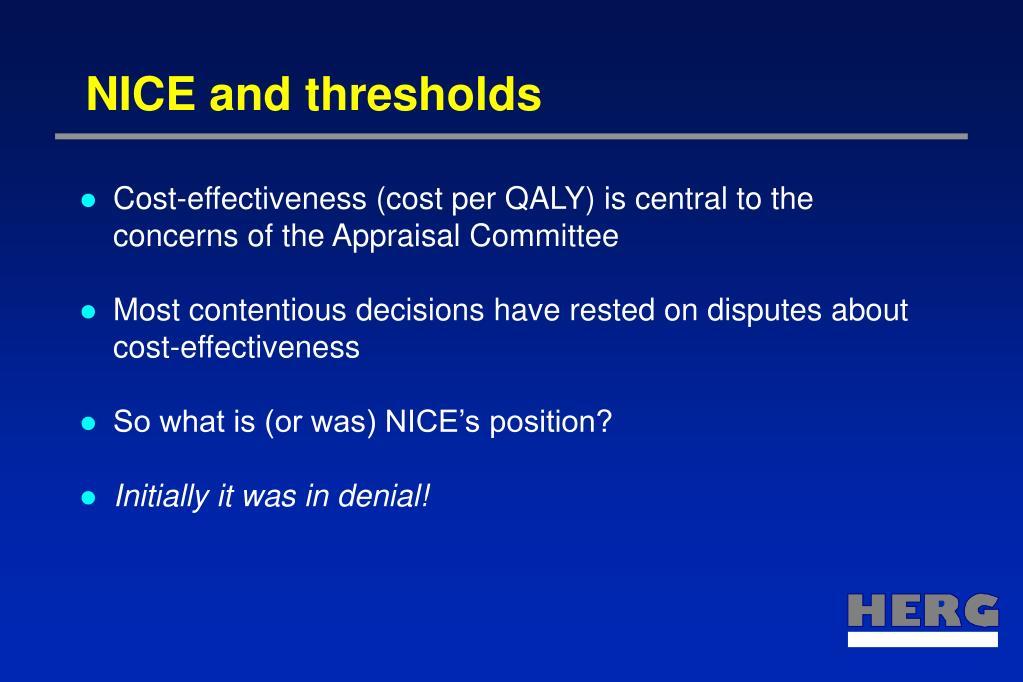 NICE and thresholds