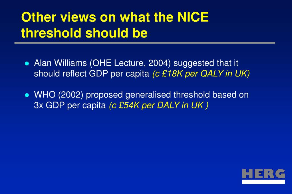 Other views on what the NICE threshold should be