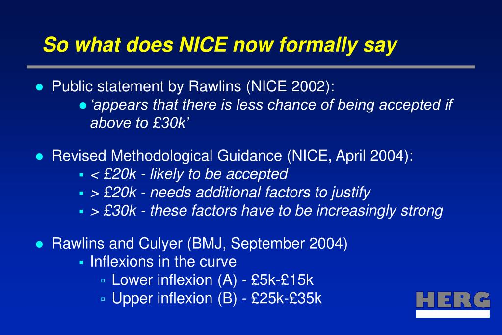 So what does NICE now formally say