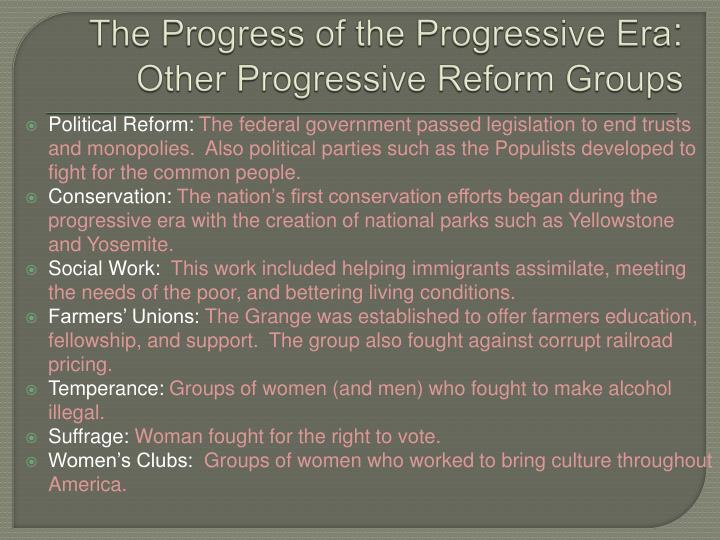 an overview of some progressive reforms Ap us history chapter 21: the progressive era 1901-1918 progressives agreed with them on some support for progressive candidate ensured reforms would.