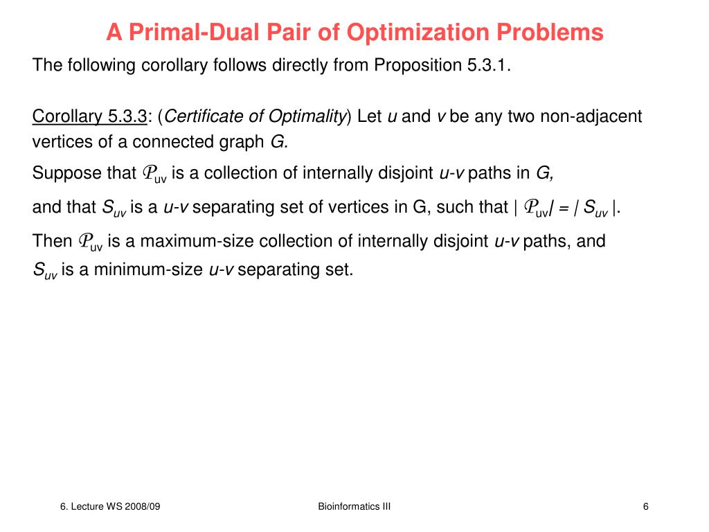 A Primal-Dual Pair of Optimization Problems