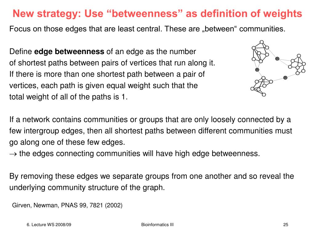 "New strategy: Use ""betweenness"" as definition of weights"