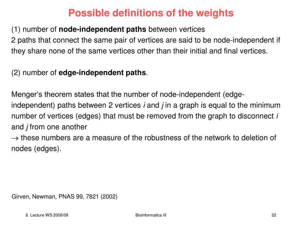 Possible definitions of the weights