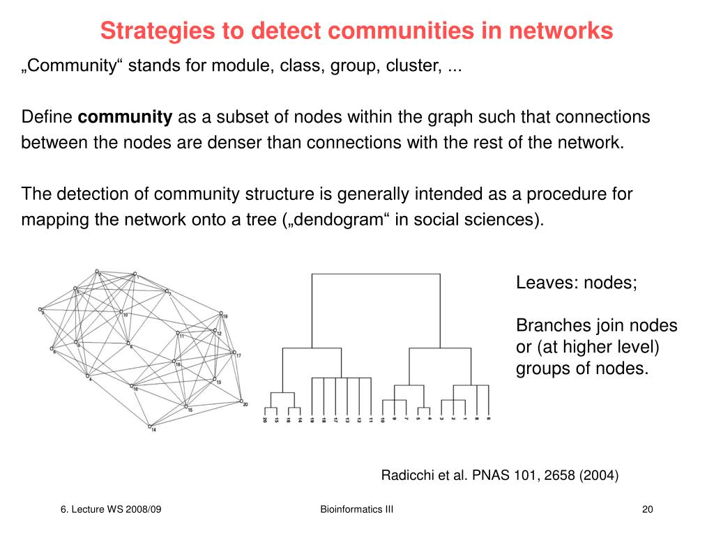 Strategies to detect communities in networks