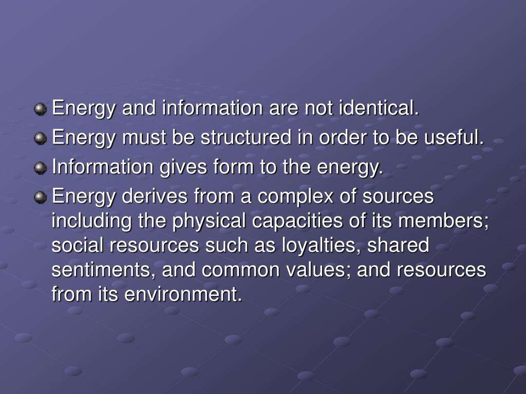 Energy and information are not identical.
