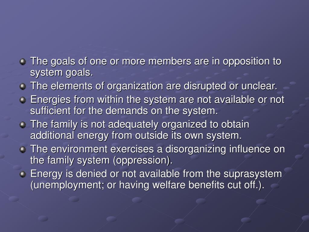 The goals of one or more members are in opposition to system goals.