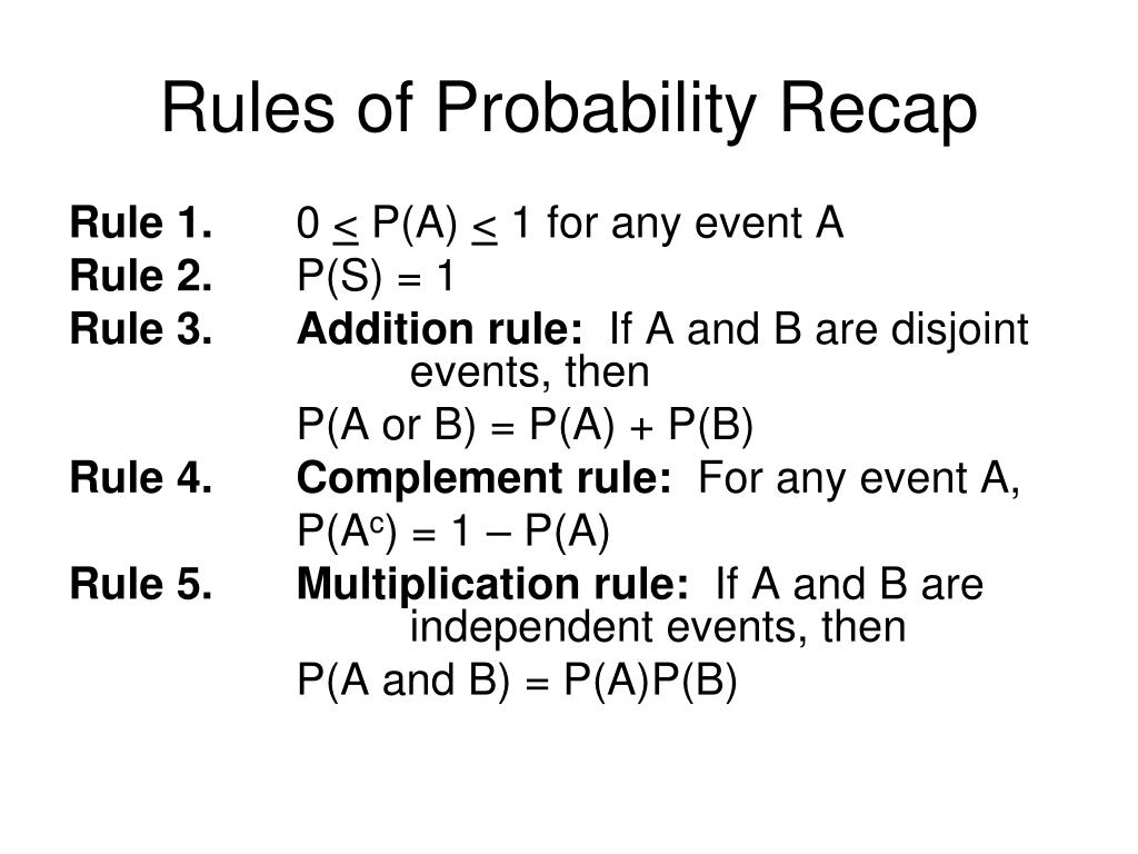 Rules of Probability Recap