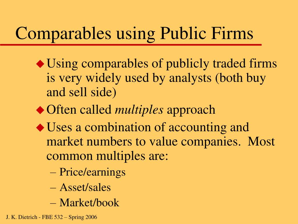 Comparables using Public Firms
