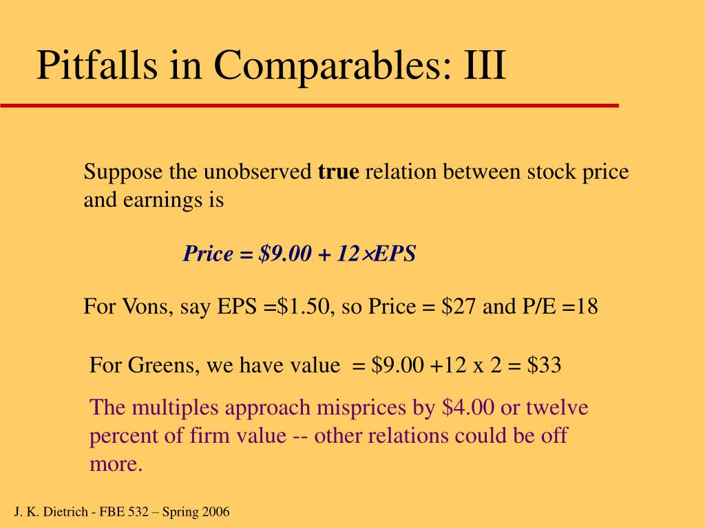 Pitfalls in Comparables: III