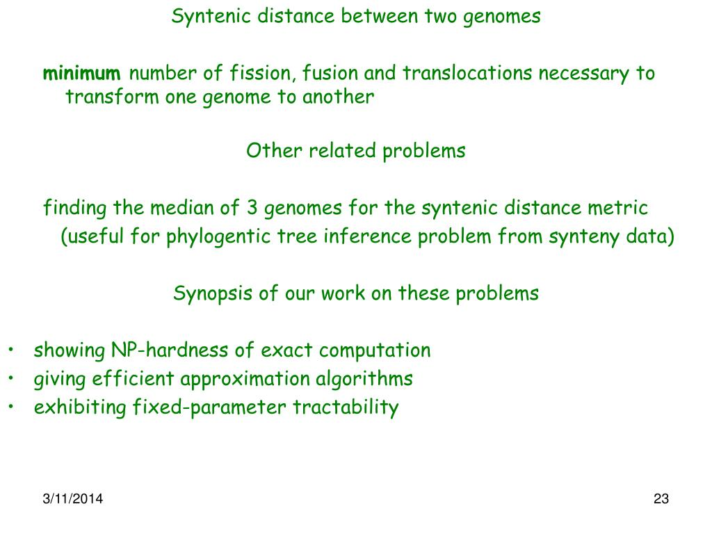 Syntenic distance between two genomes